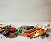 Assorted Ingredients Used in Indian Cooking