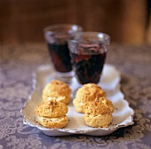 Caraway Cheese Biscuits Served with Mulled Wine on a Platter