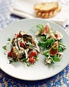 Artichoke Salad and Fig Salad on a White Plate