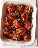 Roast Tomatoes with Olives in Roasting Dish