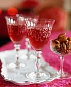 Cranberry Cocktails in Etched Glass Stem Glasses