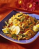 Asian Noodles with Asparagus and Bell Peppers