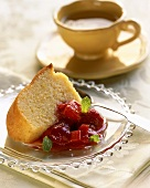 Slice of Poundcake with Fruit Compote; Cup of Coffee