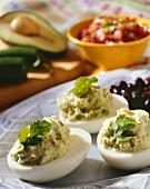 Avocado Deviled Eggs on a Platter