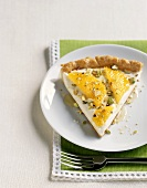 Slice of Pie Topped with Oranges and Pistachios