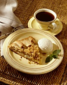 Slice of Apple Pie with Vanilla Ice Cream and Cup of Coffee