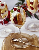 Individual Raspberry Trifles in Wine Glasses