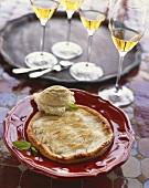 Apple Tart with Vanilla Ice Cream and White Wine