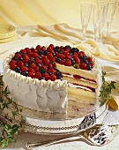 Triple Layer White Cake with Mixed Summer Berries