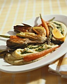 Grilled Artichokes, Asparagus and Carrots Over Whipped Potatoes