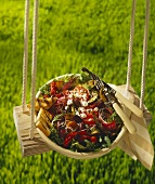 Grilled Vegetable Salad with Feta, Olives and Garlic Toast on a Swing