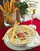 Lobster and Corn Chowder with White Wine and Grissini