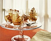 Caramel Nut Ice Cream Sundaes in Glasses