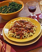 Campanelle with Sausage and Tomato Sauce