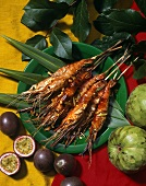 Skewered Grilled Prawns with Tropical Fruit