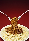Fork Tossing Spaghetti with Meat Sauce