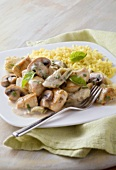 Basil Chicken with Artichoke Hearts and Mushrooms