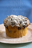 Sprinkling a Chocolate Chip Muffin with Powdered Sugar