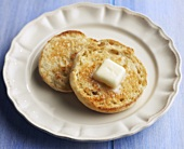 A Toasted English Muffin with Butter