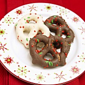 Milk Chocolate and White Chocolate Covered Pretzels