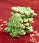 Christmas Tree Sugar Cookies with Green Sprinkles