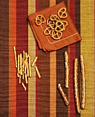 Mini-Pretzels and Salted Sticks on Striped Cloth