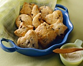 Raisin Scones in Fun Shapes in a Bowl; Butter