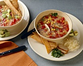Two Bowls of Southwestern Style Soup with Corn and Chicken; Tortilla Strips