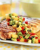 Pineapple Avocado Salsa Over Swordfish