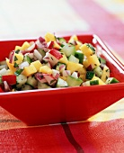 Mango Cucumber Salsa with Radishes in a Bowl