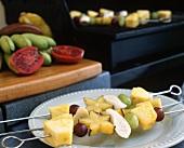 Fruit Kabobs on Metal Skewers; Fresh Fruit and Grill