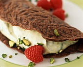 Chocolate Crepe with Pistachio Cream and Raspberries