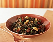 Bowl of Wild Rice Salad with Walnuts and Cranberries