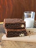 Two Walnut Brownies; Glass of Milk