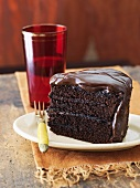 Slice of Triple Chocolate Cake