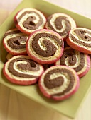Chocolate, Vanilla, Strawberry Swirl Cookies