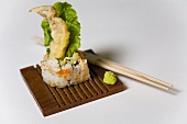 Inside-out roll with deep-fried spider crab