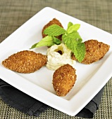Potato Kibbe with Hummus (Lebanese Fried Potato Bites)