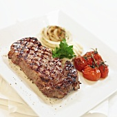 Grilled Steak with Tomato and Onions