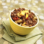 Bowl of Wild Rice with Mango and Cashews