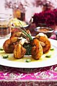 Tandoori Shrimps mit Spinat Timbal und Zitronenreduktion