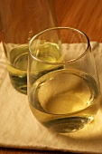 Stemless Glass of Chardonnay with Bottle