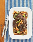 Beef Stew on a White Dish