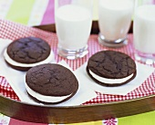 Whoopie Pies with Milk on a Tray
