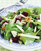 Beet Apple and Walnut Salad with Baby Arugula