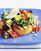 Grilled Vegetable Salad Over Bread
