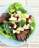 Roasted Red Onion Salad with Pear, Baby Spinach and Goat Cheese