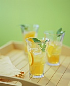 Glasses of Iced Tea with Mint Leaves
