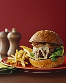 Cheeseburger with Onions and French Fries