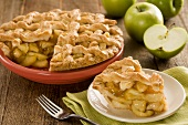 Lattice Apple Pie with Granny Smith Apples, Slice Removed